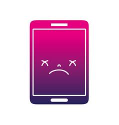 Silhouette kawaii smartphone cute gloomy face vector