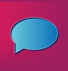 speech bubble icon blue 3d printed icon vector image
