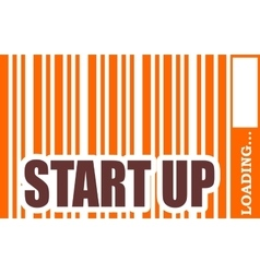 Start up word build in bar code vector