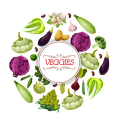 Veggies and vegetables vegetarian poster vector