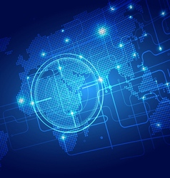 World Map with Technology Background vector image