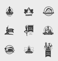 yoga studio symbol set vector image
