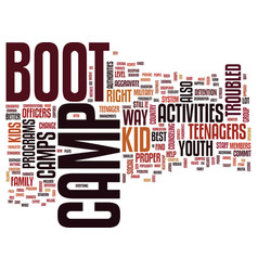 Youth group activities boot camp text background vector
