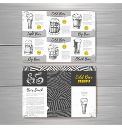 Vintage cold beer menu design vector