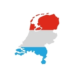 Map of the netherlands in dutch flag colors icon vector