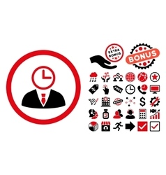 Time manager flat icon with bonus vector