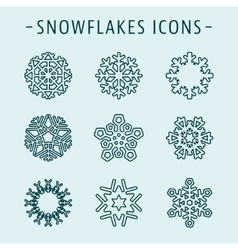 Set snowflakes icons vector image