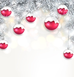 Holiday glowing background with silver fir vector