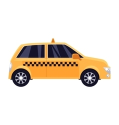 Traditional yellow taxi with checker pattern vector