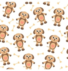 Cute cartoon puppy dog seamless texture Children vector image