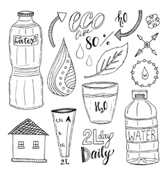 Hand drawn set of water and recycle icons vector