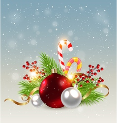 Red decorations and candy cane vector