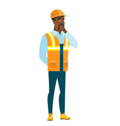 African-american builder thinking vector