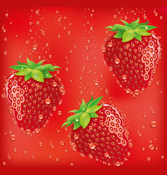 Fresh strawberry falling to juicy vector