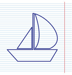 Sail boat sign navy line icon on notebook vector