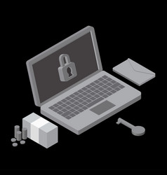 Business data has been encrypted isometric vector