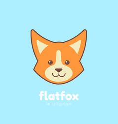 Cute cartoon flat fox vector