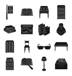 Library and bookstore set icons in black style vector