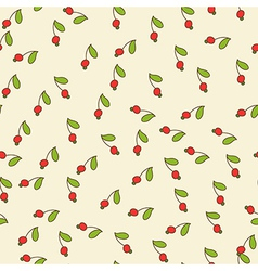Red berry and green leaf vector