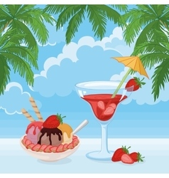 Ice cream berry cocktail sky clouds and palms vector
