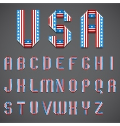 American Flag Folded Font vector image