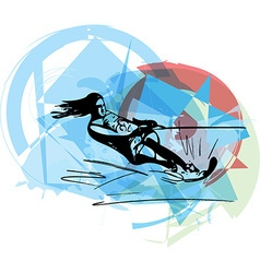Water skiing vector
