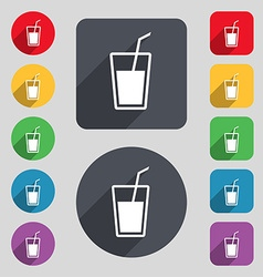 Soft drink icon sign a set of 12 colored buttons vector