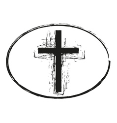 Black grunge easter cross stamp symbol vector image