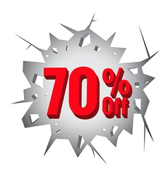 Sale 70 percent on hole cracked white wall vector