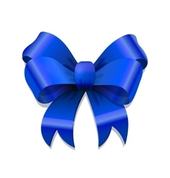 Bright blue bow-knot with shadow on white vector image