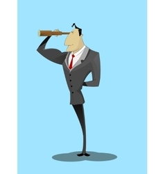 Businessman looking through spyglass and smiling vector image