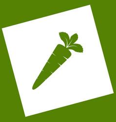 Carrot sign white icon vector
