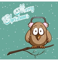 Christmas card sparrow in scarf vector