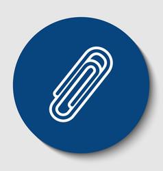Clip sign white contour icon vector