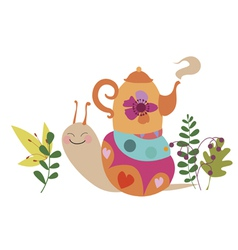 Cute snail with tea pot vector