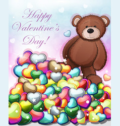 cute teddy bear with hearts vector image