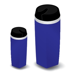 Disposable cup set on white background blue vector