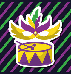 drum carnival mardi gras mask feather and color vector image