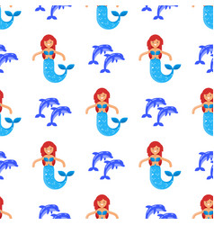flat style seamless pattern with mermaid vector image