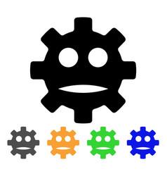 Gear sad smiley icon vector