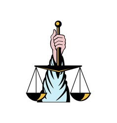 Hand holding scales of justice vector