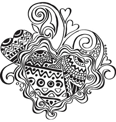 Heart with patterns in ethnic style vector