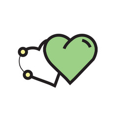 Icon two heart pen tool style green vector