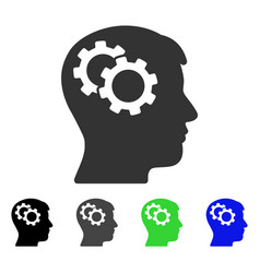 Intellect gears flat icon vector