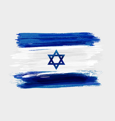 israel national grunge watercolor brushed flag vector image vector image