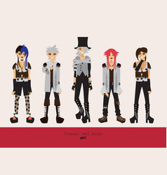 lovely visual kei men different hairstyles vector image