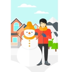 Man posing near snowman vector