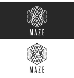 Maze logo cube thin line labyrinth vector image vector image