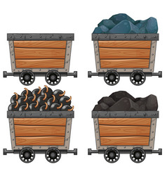 mining carts with stones and bombs vector image