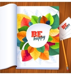 Nature rainbow leaves concept magazine page vector